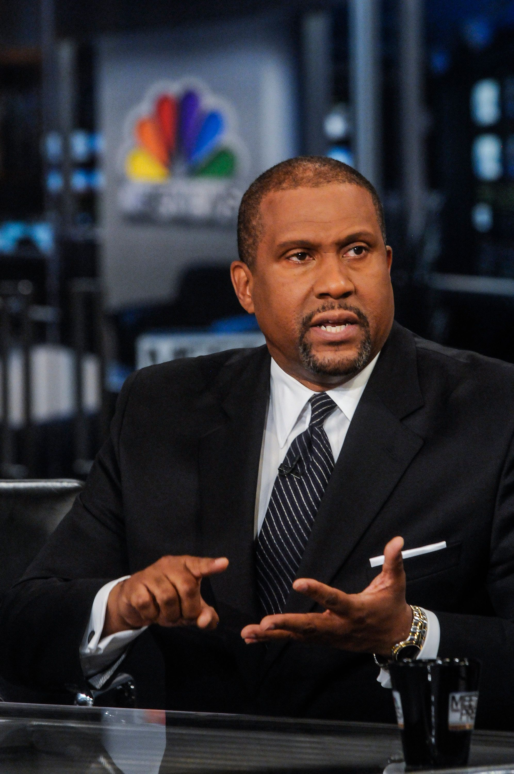 MEET THE PRESS -- Pictured: (l-r)   Tavis Smiley, Host of the 'Tavis Smiley Show' on PBS, appears on 'Meet the Press' in Washington, D.C., Sunday, July 21, 2013. (Photo by: William B. Plowman/NBC/NBC NewsWire via Getty Images)