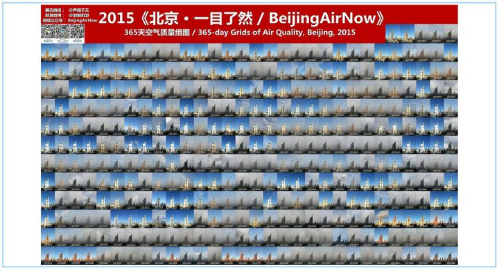 A collection of 365 photos of Beijing skies taken every day during 2015.