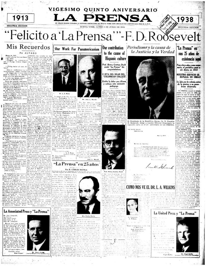 The front page of La Prensa celebrated its 25th anniversary in 1938.