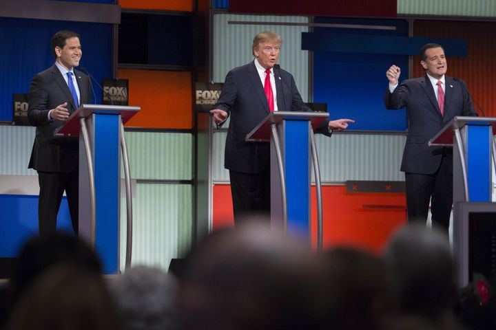 2016 Republican presidential candidates, from left, Senator Marco Rubio, a Republican from Florida, Donald Trump, president a