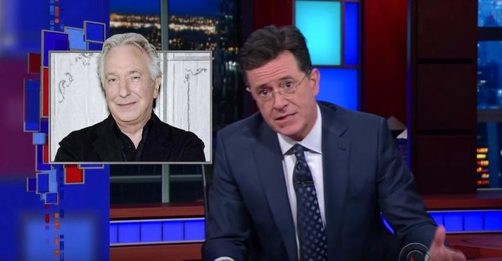Late-night host Stephen Colbert delivers an emotional tribute to Alan Rickman.