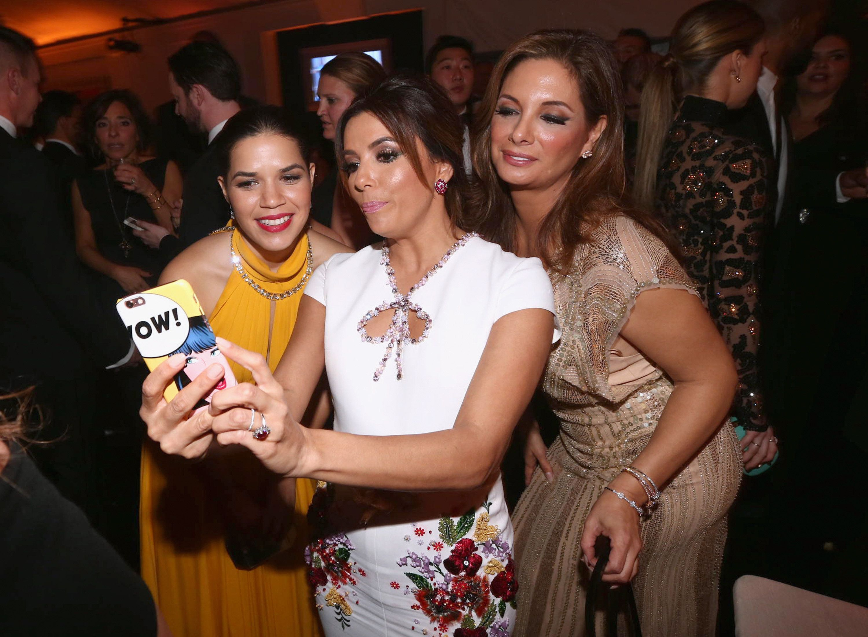 BEVERLY HILLS, CA - JANUARY 10:  73rd ANNUAL GOLDEN GLOBE AWARDS --  Pictured: (l-r) Actresses America Ferrera, Eva Longoria and Alex Meneses during NBCUniversal's Golden Globes Post-Party Sponsored by Chrysler held at the Beverly Hilton Hotel on January 10, 2016.  (Photo by Christopher Polk/NBC/NBCU Photo Bank via Getty Images)