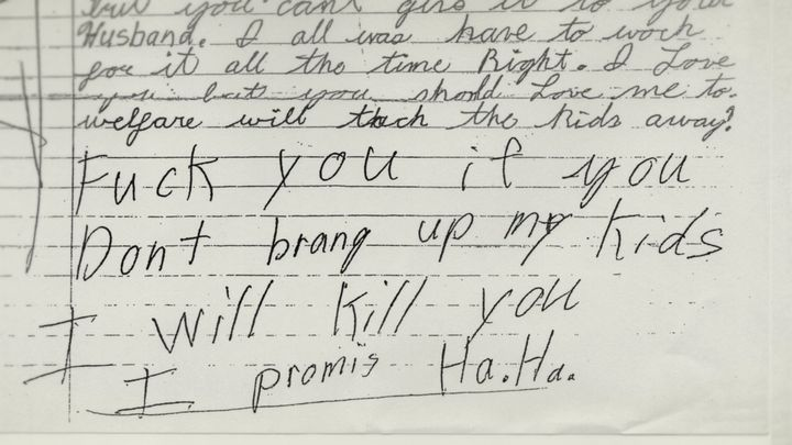A threatening letter Steven Avery sent to his former wife from prison.
