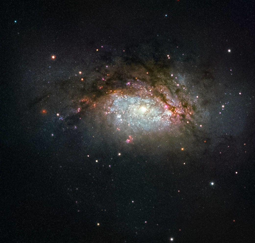 Hubble Space Telescope image of NGC 3597, a celestial object created by the collision of two galaxies.
