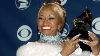 UNITED STATES - FEBRUARY 23:  Celia Cruz holds her award for Best Salsa Album backstage at the 45th annual Grammy Awards at Madison Square Garden.  (Photo by Richard Corkery/NY Daily News Archive via Getty Images)