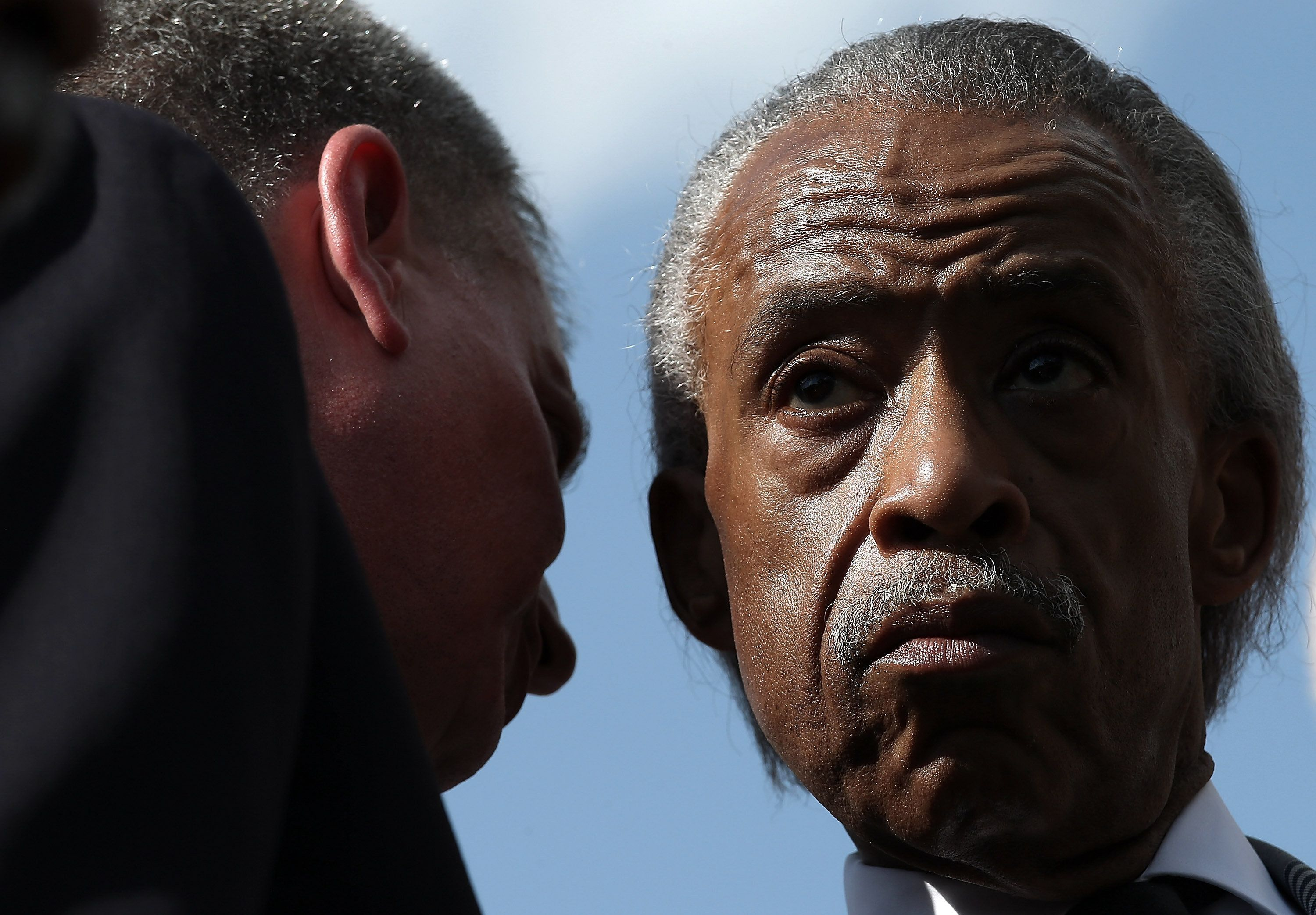 WASHINGTON, DC - MAY 12:  New York Mayor Bill de Blasio (L) speaks with the Rev. Al Sharpton (R) outside the U.S. Capitol May 12, 2015 in Washington, DC. De Blasio joined with members of the Congressional Progressive Caucus and union representatives to call for a 'progressive agenda to combat income inequality.'  (Photo by Win McNamee/Getty Images)