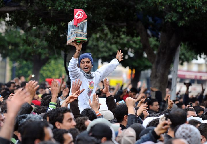A Tunisian demonstrator holds a cage and the national country flag during a rally on Jan. 14, 2011, outside the Interior