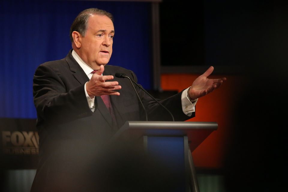 Republican presidential candidate Mike Huckabee participates in the Fox Business Network Republican presidential debate at th