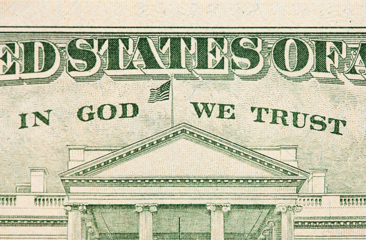 Close up of the back side of a United States twenty-dollar bill