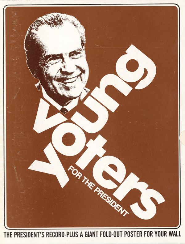 "Campaign poster for Richard Nixon, sponsored by ""Young Voters For the President,"" circa 1972."