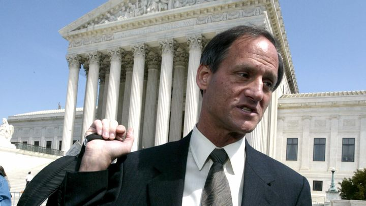 Michael Newdow, an atheist lawyer from California who challenged the Pledge of Allegiance, leaves the Supreme Court afte