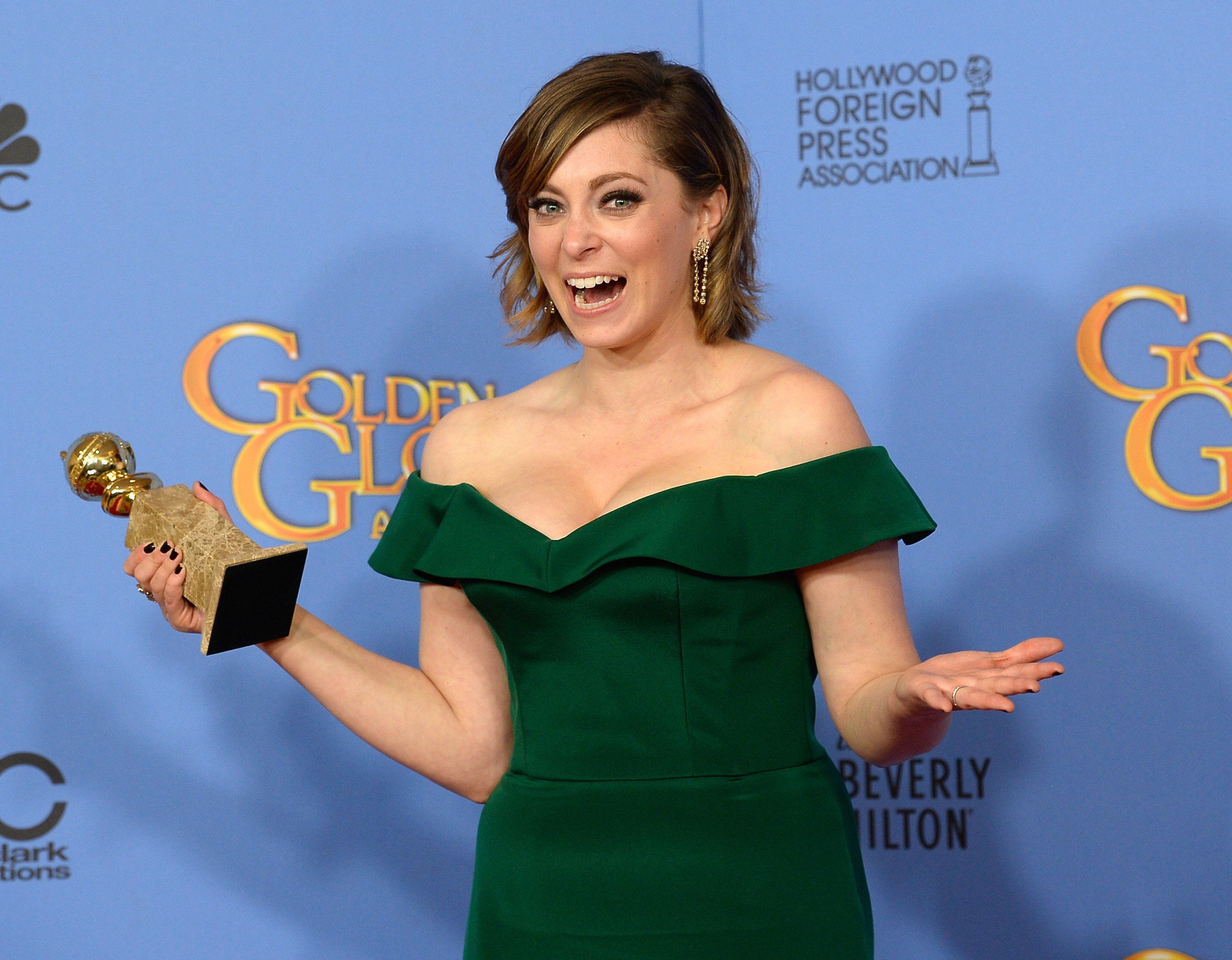 BEVERLY HILLS, CA - JANUARY 10:  73rd ANNUAL GOLDEN GLOBE AWARDS -- Pictured: Actress Rachel Bloom, winner of the award for Best Performance by an Actress in a Television Series - Musical or Comedy for 'Crazy Ex-Girlfriend', poses in the press room at the 73rd Annual Golden Globe Awards held at the Beverly Hilton Hotel on January 10, 2016.  (Photo by Kevork Djansezian/NBC/NBCU Photo Bank via Getty Images)