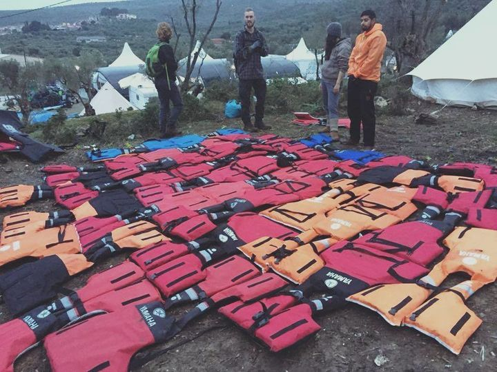 Volunteers in Lesbos refashioned discarded life jackets into mattresses to keep migrants and refugees warm at night.