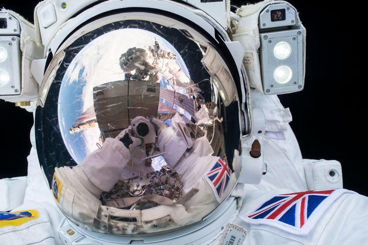 ESA (European Space Agency) astronaut Tim Peake taking a selfie during his first spacewalk.