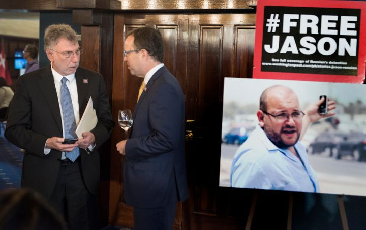Marty Baron and National Press Club President John Hughes held a press conference on the anniversary of Rezaian's imprisonmen