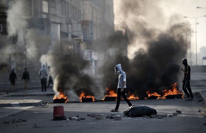 Protesters clashed with riot police in Bahrain, home to the U.S. Fifth Fleet, on Jan. 8, following demonstrations&n