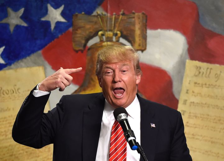 Republican presidential candidate Donald Trump speaks at the South Carolina Tea Party Convention at the Springmaid Beach Reso