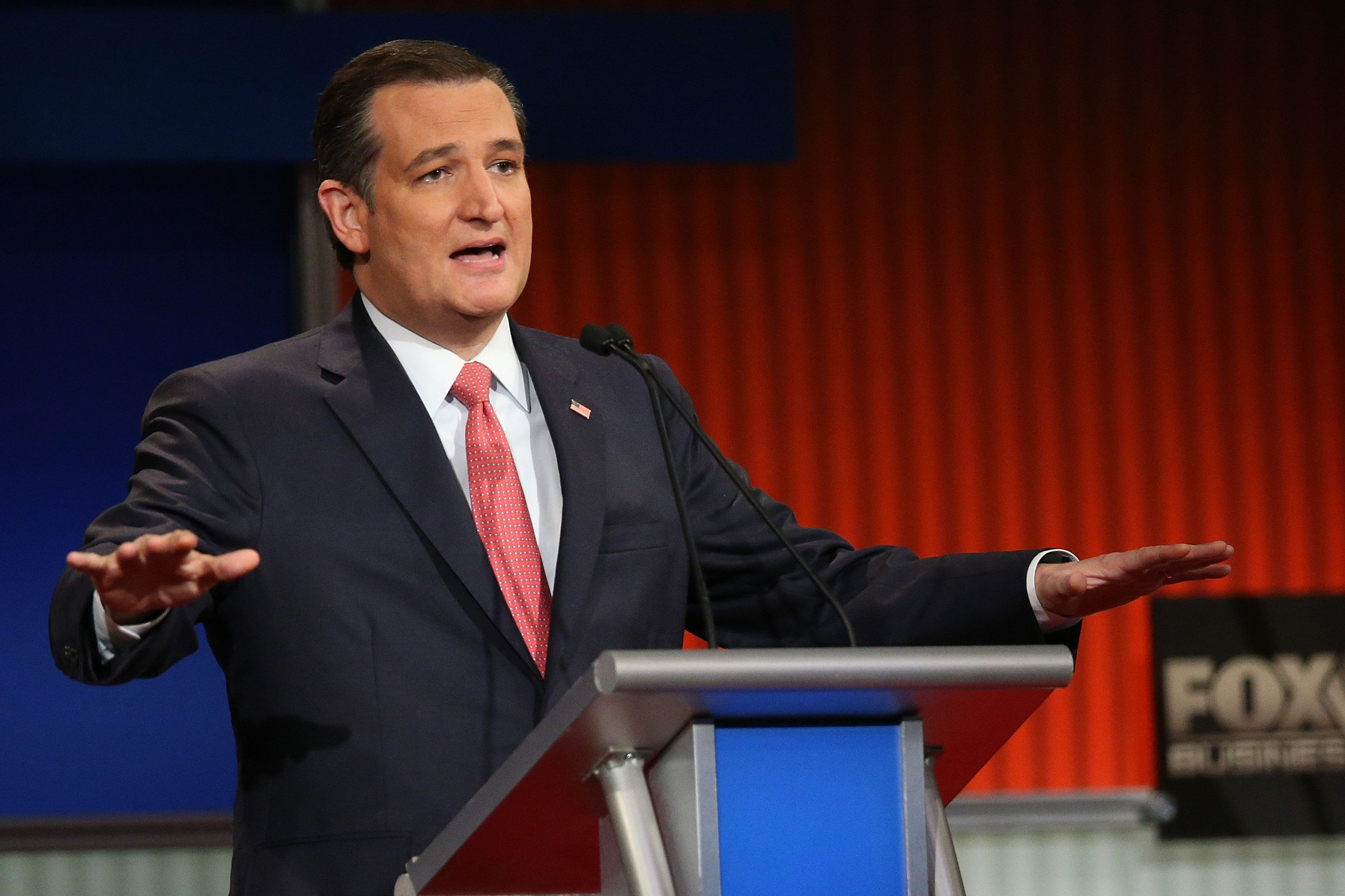 NORTH CHARLESTON, SC - JANUARY 14:  Republican presidential candidate Sen. Ted Cruz (R-TX) participates in the Fox Business Network Republican presidential debate at the North Charleston Coliseum and Performing Arts Center on January 14, 2016 in North Charleston, South Carolina. The sixth Republican debate is held in two parts, one main debate for the top seven candidates, and another for three other candidates lower in the current polls.  (Photo by Scott Olson/Getty Images)