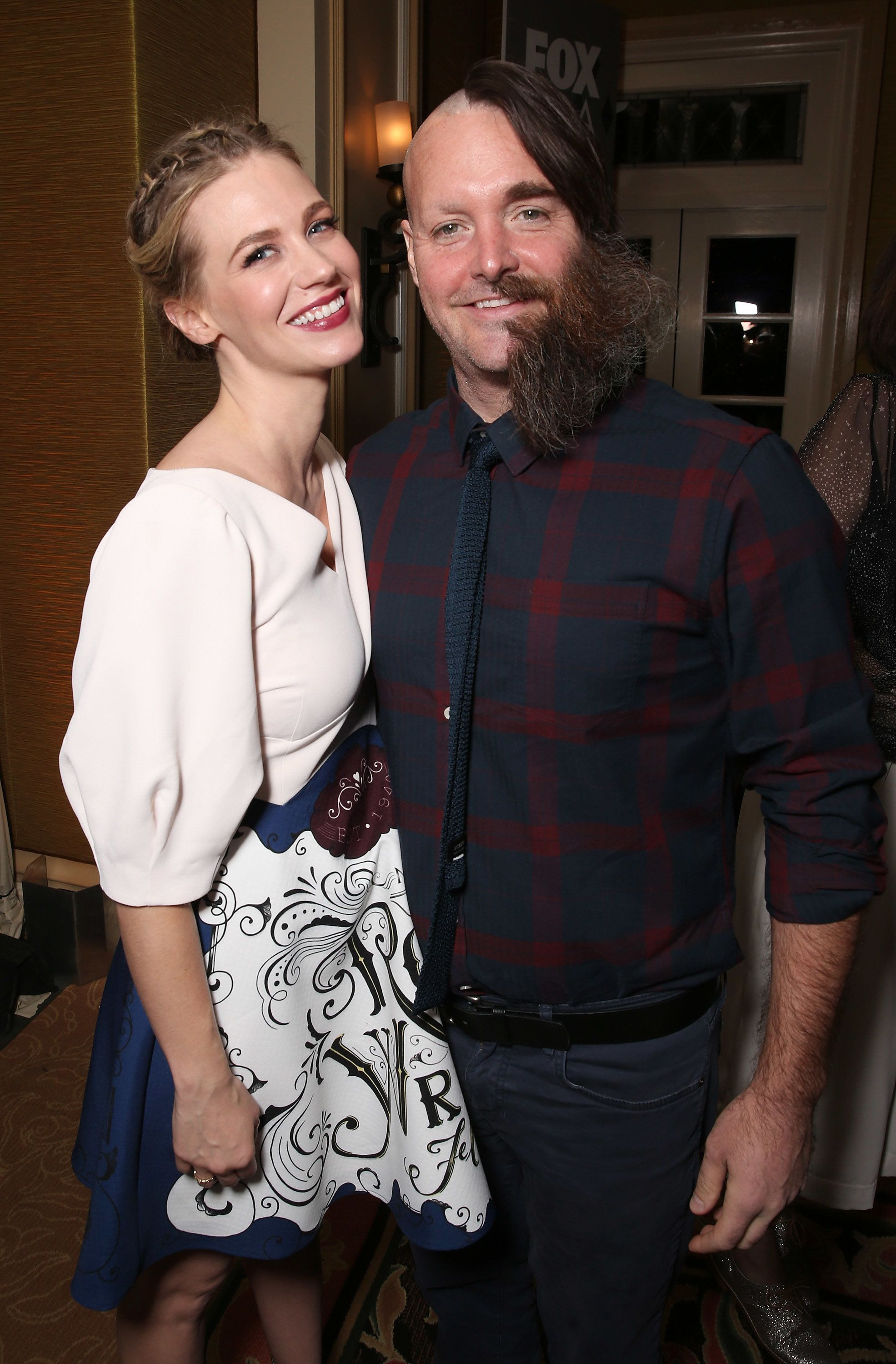 PASADENA, CA - JANUARY 15:  January Jones and Will Forte attend the 2016 Winter TCA Tour FOX All Star Party at The Langham Huntington Hotel and Spa on January 15, 2016 in Pasadena, California.  (Photo by Todd Williamson/Getty Images)
