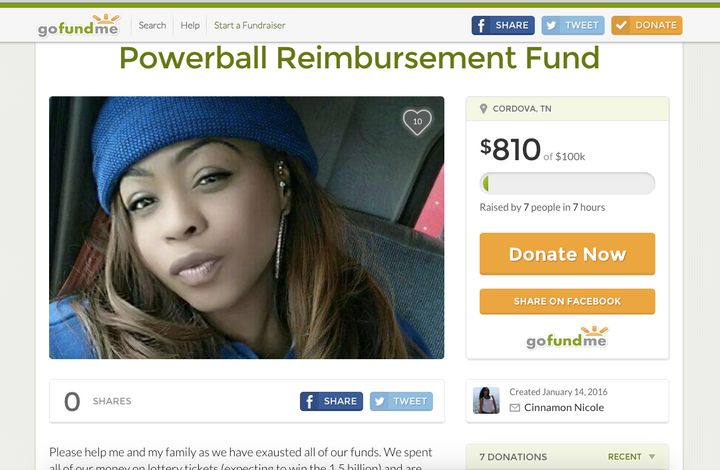 A GoFundMe campaign for a woman who claimed to have spent all her money on lottery tickets managed to raise $800 before it wa