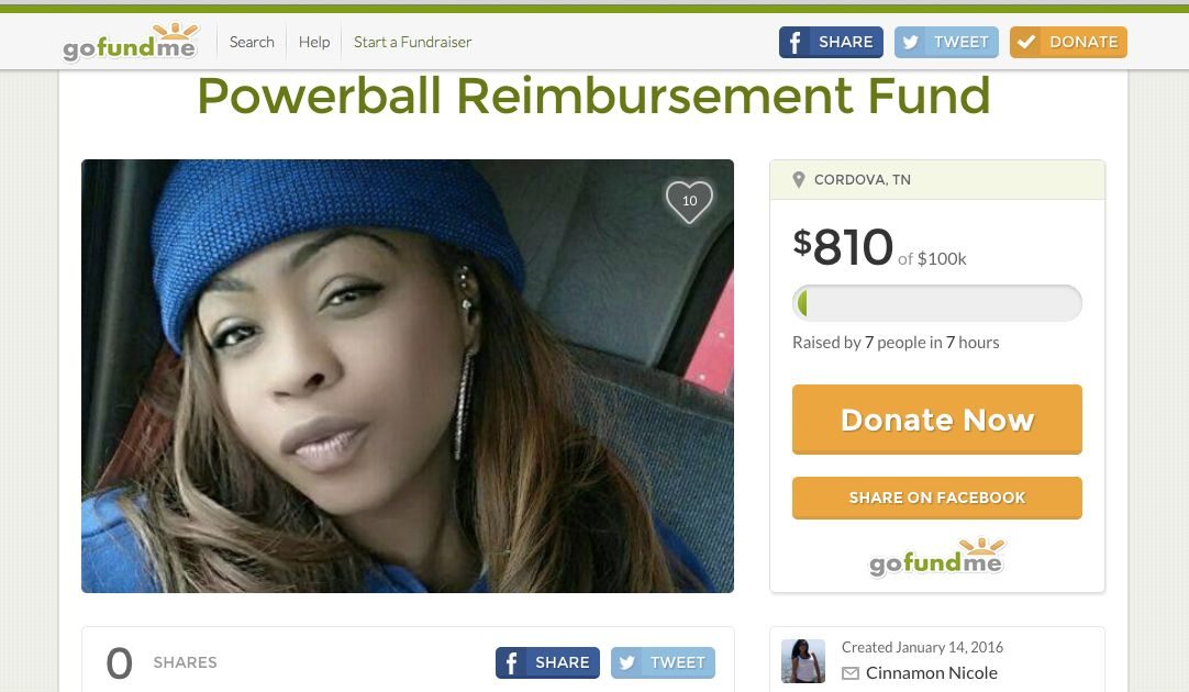 Woman starts GoFundMe campaign for lost money on Powerball