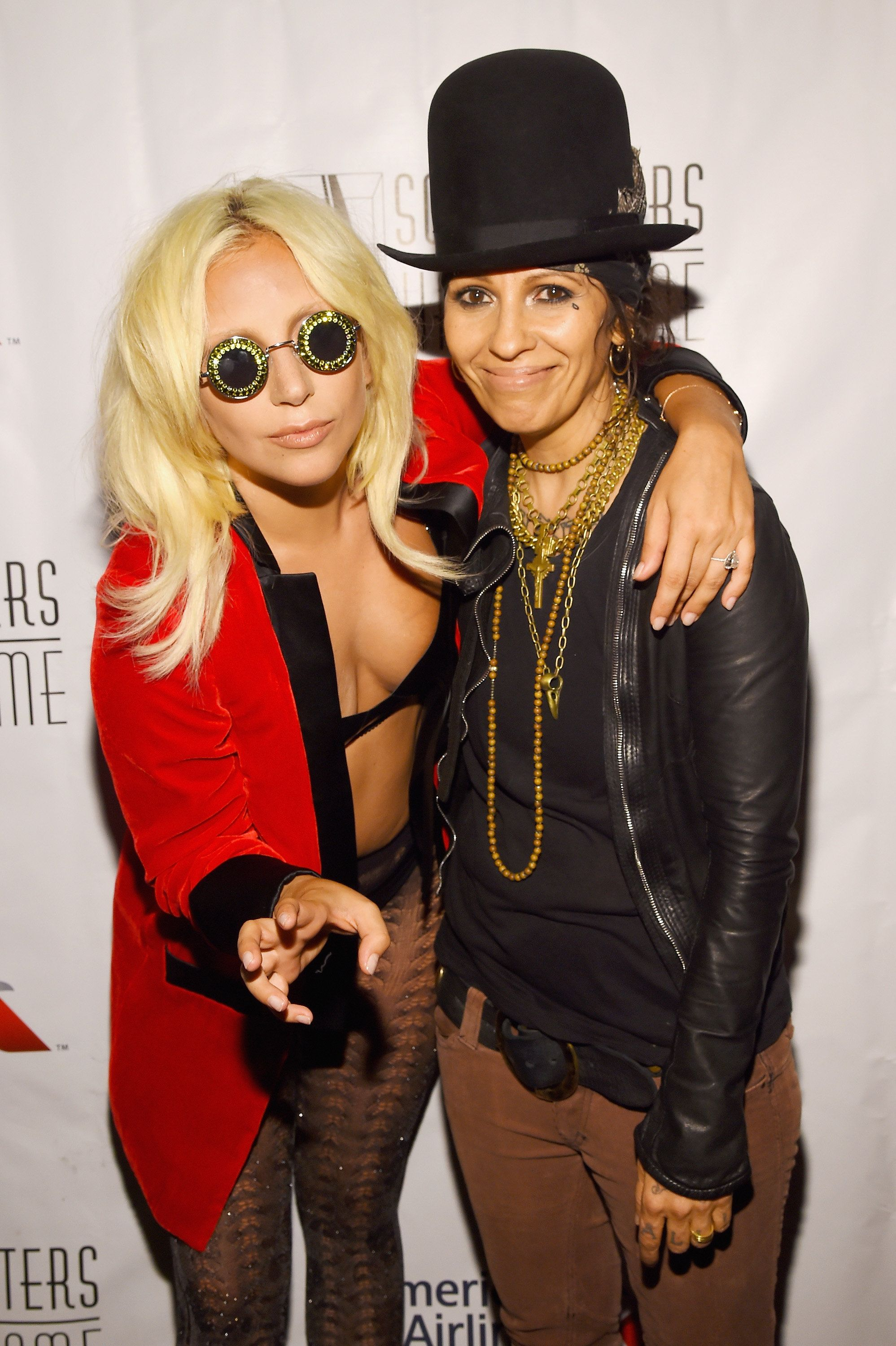NEW YORK, NY - JUNE 18:  Contemporary Icon Award Recipient Lady Gaga and Inductee Linda Perry pose backstage at the Songwriters Hall Of Fame 46th Annual Induction And Awards at Marriott Marquis Hotel on June 18, 2015 in New York City.  (Photo by Larry Busacca/Getty Images for Songwriters Hall Of Fame)