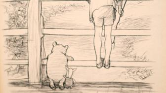 """The drawing by E.H Shepard of Winnie the Pooh, as the bear plays """"Poohsticks"""" with Piglet and Christopher Robin, one of the most famous images, which is expected to fetch more than £100,000 at auction."""