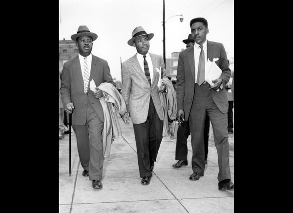 The Rev. Ralph Abernathy, left, Rev. Dr. Martin Luther King, Jr., center, and Bayard Rustin, leaders in the racial bus boycot