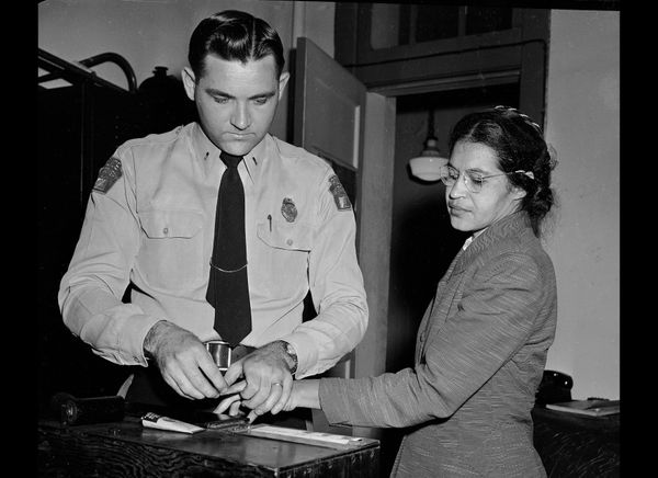 Rosa Parks, whose refusal to move to the back of a bus touched off the Montgomery bus boycott and the beginning of the civil