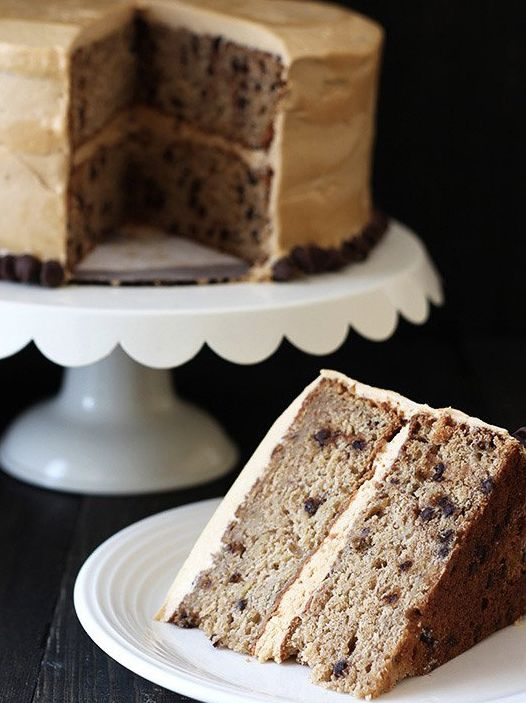 "<strong>Get the <a href=""http://www.handletheheat.com/banana-chocolate-chip-cake-peanut-butter-frosting/"" target=""_blank"">Ban"