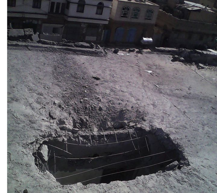 A photo taken the day of the strike shows the blast hole in the roof of the al-Noor Center.