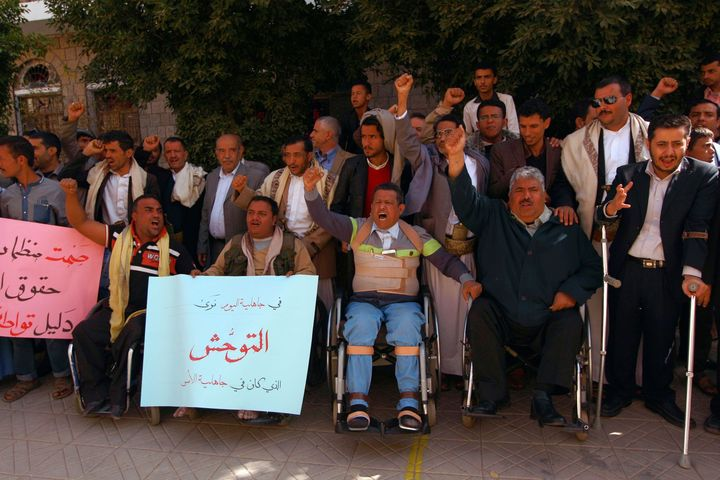 People with visual and physical disabilities protestthe strike in Sanaa on Jan. 6.