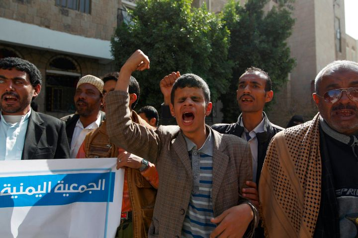 Yemeni adultswho are blind express their anger and frustrationthe day after the center was bombed.
