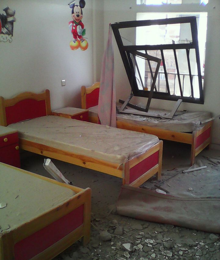 Thisbedroom was badly damagedwhen the bomb struck, even though it didn't explode.