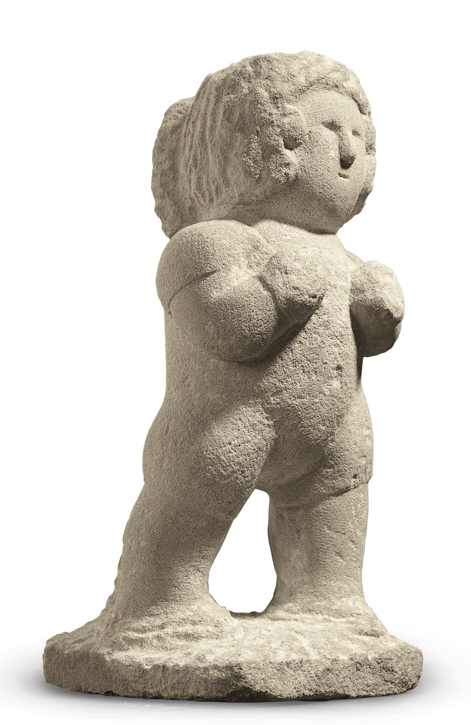 """An iconic masterwork by renowned African American artist William Edmondson (1874-1951), """"Boxer"""" is an incredibly sophisticate"""