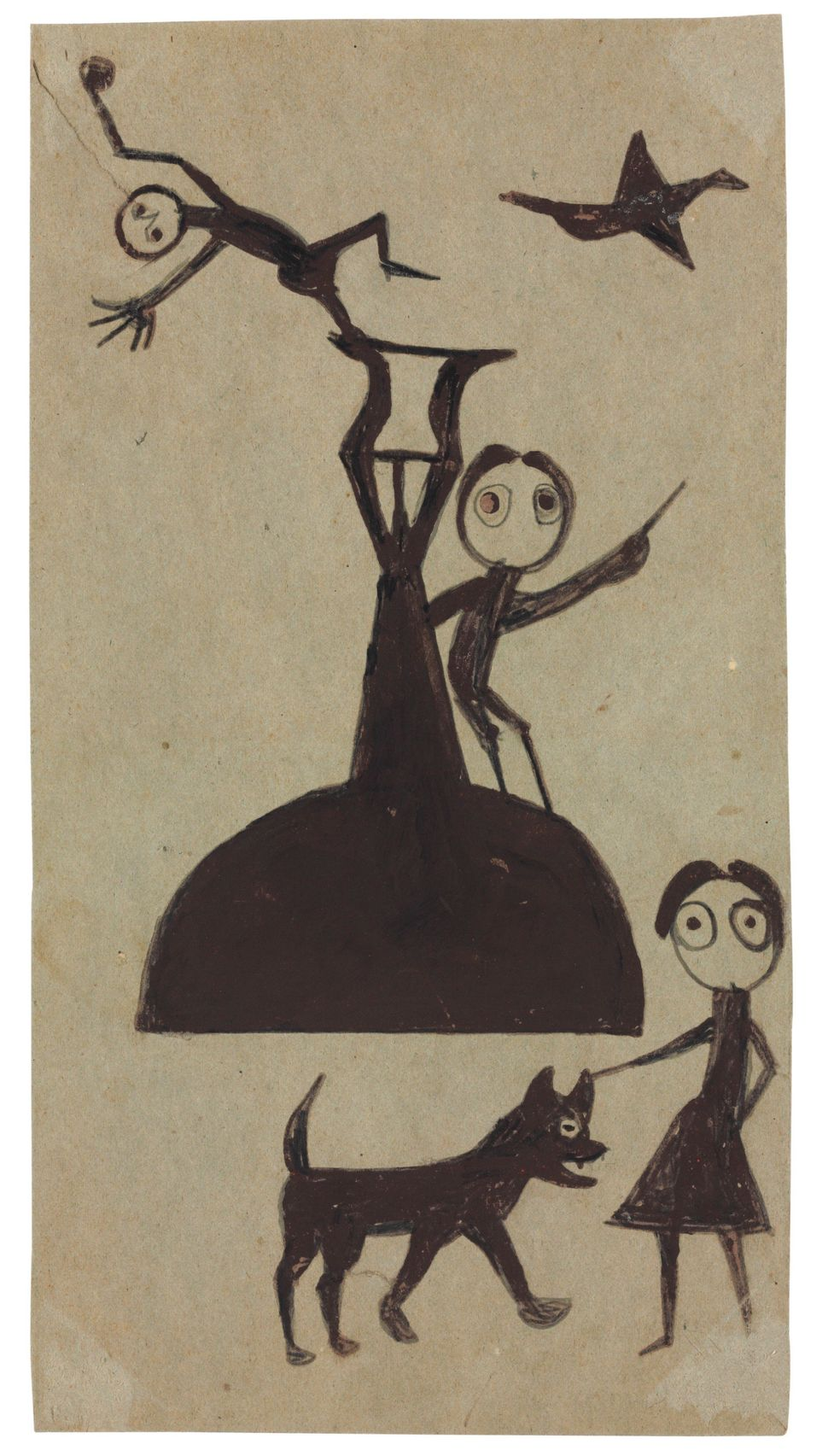 After a lifetime on a plantation, former slave Bill Traylor moved to Montgomery, Alabama. Crippled with rheumatism, he began