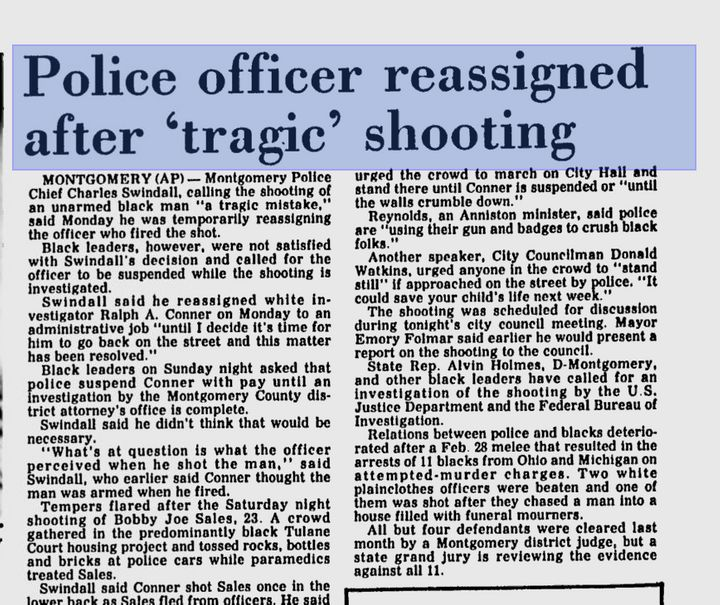 A 1983 Associated Press story discusses the police shooting of Bobby Joe Sales.