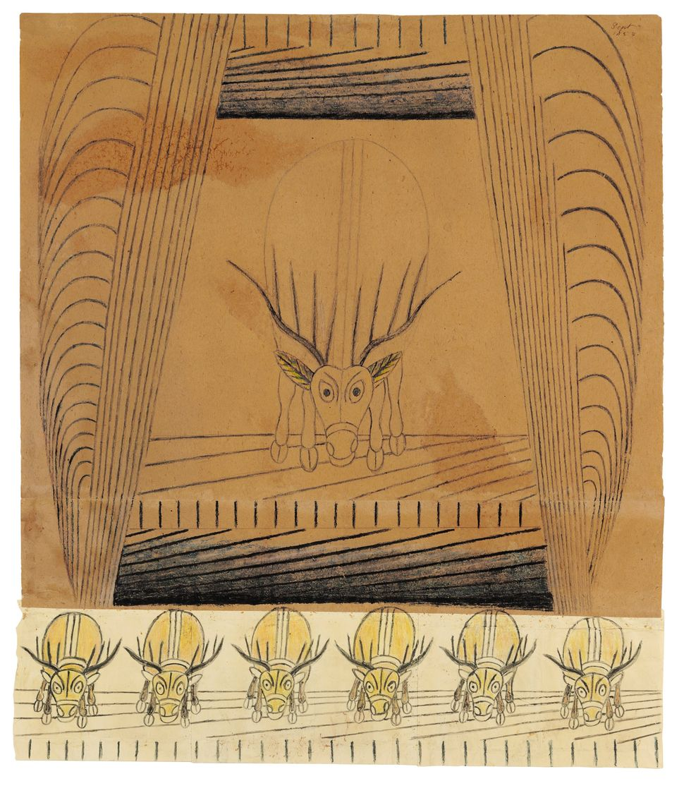 Ramirez, known for his mesmerizing, dynamic line drawings, employed spit and oatmeal to bind papers into larger artmaking sur