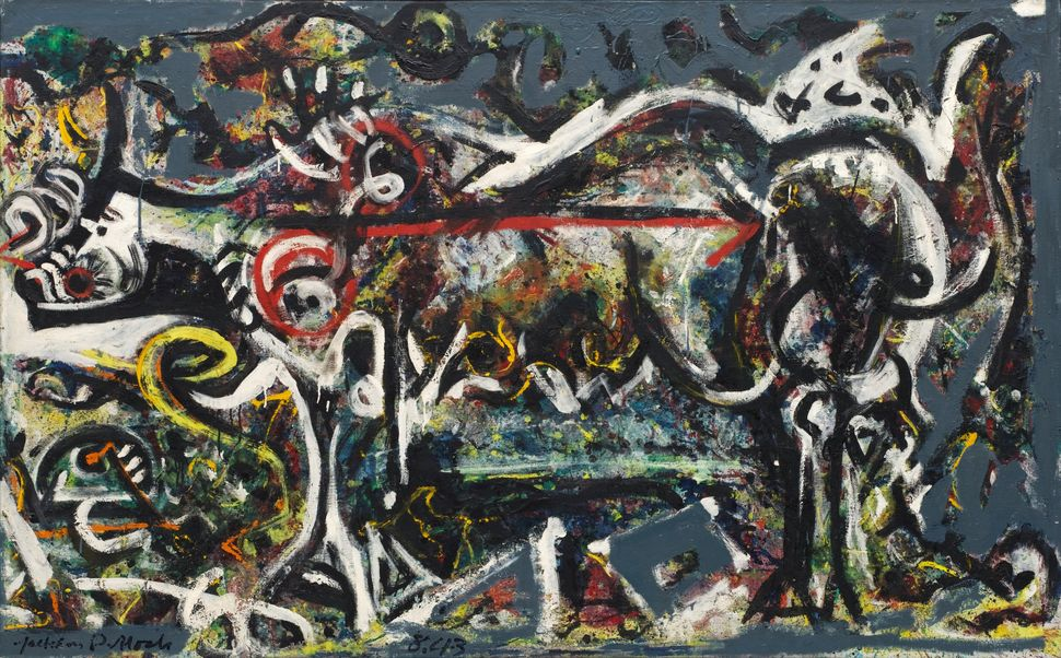 Jackson Pollock (American, 1912-1956). The She-Wolf. 1943. Oil, gouache, and plaster on canvas, 41 7/8 x 67″ (106.4 x 170.2 c