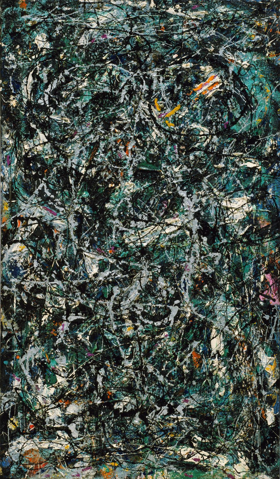 Jackson Pollock (America, 1912-1956). Full Fathom Five. 1947. Oil on canvas with nails, tacks, buttons, key, coins, cigarette