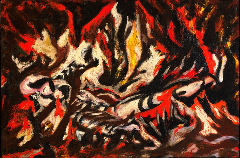 "Jackson Pollock (American, 1912-1956). The Flame. c. 1934-38. Oil on canvas, mounted on fiberboard, 20 1/2"" x 30"" (51.1 x 76."