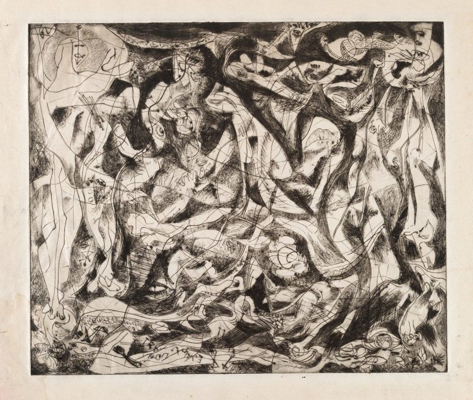 "Jackson Pollock (American, 1912-1956). Untitled (4), state II of III. c. 1944—45. Engraving and drypoint, plate: 14 15/16"" x"