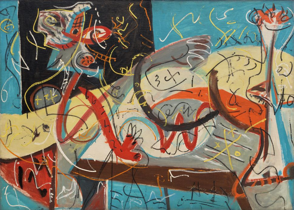 "Jackson Pollock (American, 1912-1956). Stenographic Figure. c. 1942. Oil on linen, 40 x 56"" (101.6 x 142.2 cm). The Museum of"