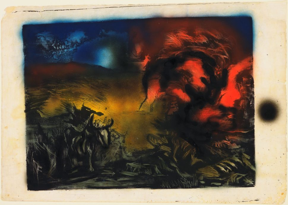 Jackson Pollock (American, 1912-1956). Landscape with Steer. c. 1936—37. Lithograph with airbrushed enamel additions, composi