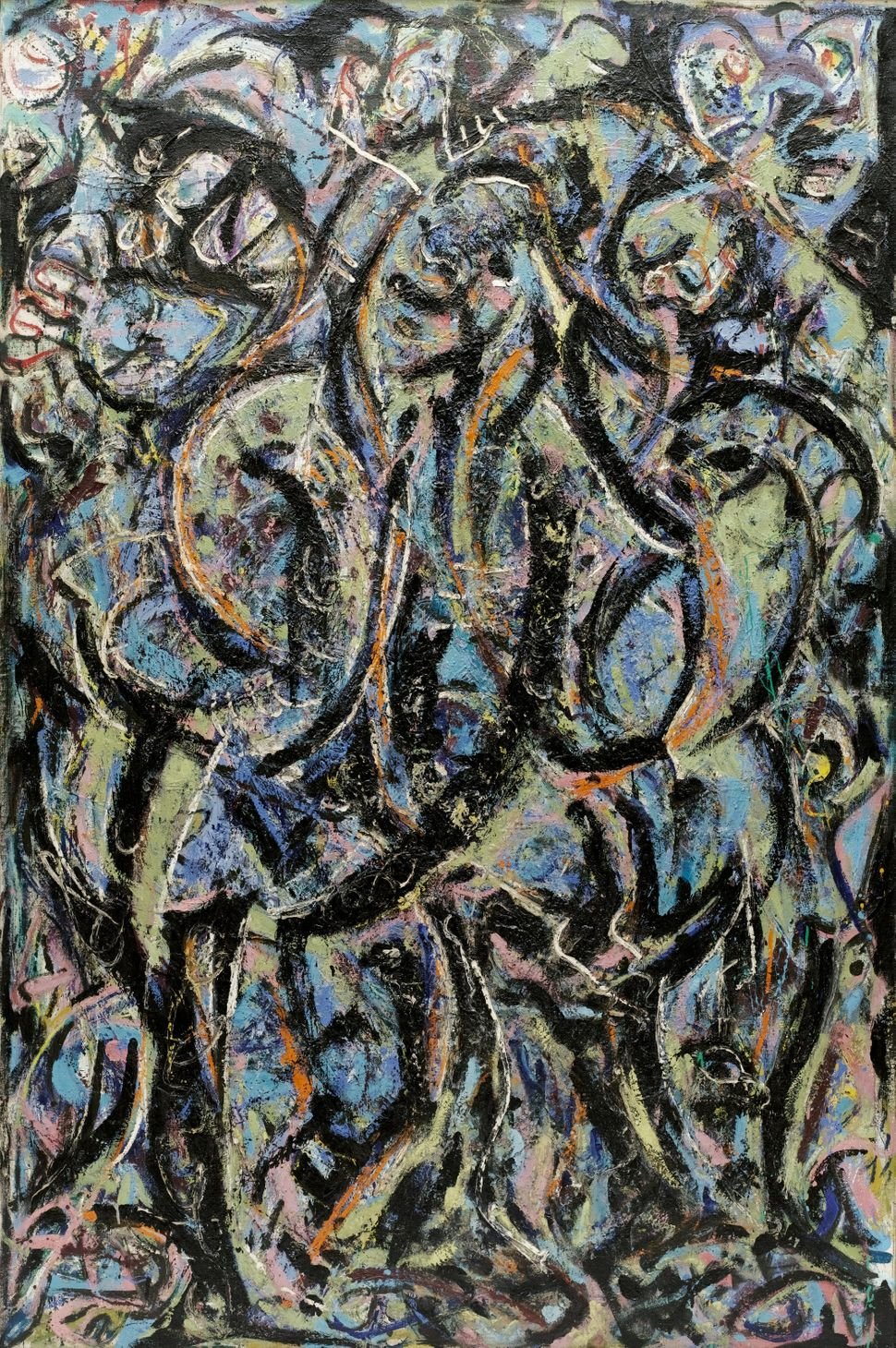"Jackson Pollock (American, 1912-1956). Gothic. 1944. Oil on canvas, 7' 5/8"" x 56"" (215.5 x 142.1 cm). The Museum of Modern Ar"
