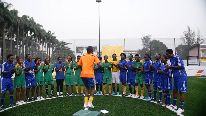 Players test out Pavegen's tiles in Lagos.