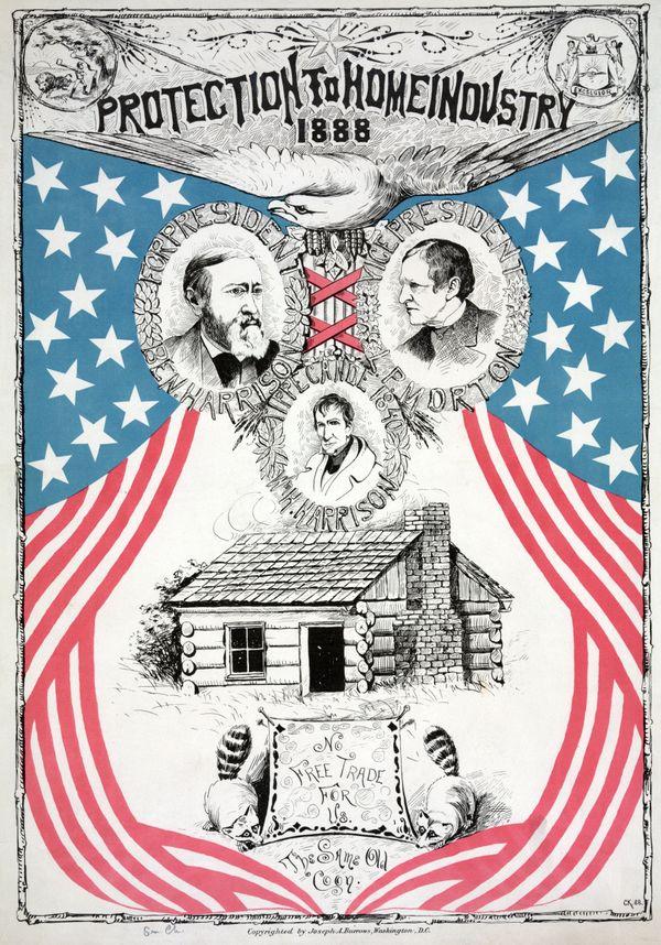 Campaign poster for Benjamin Harrison, circa 1888.