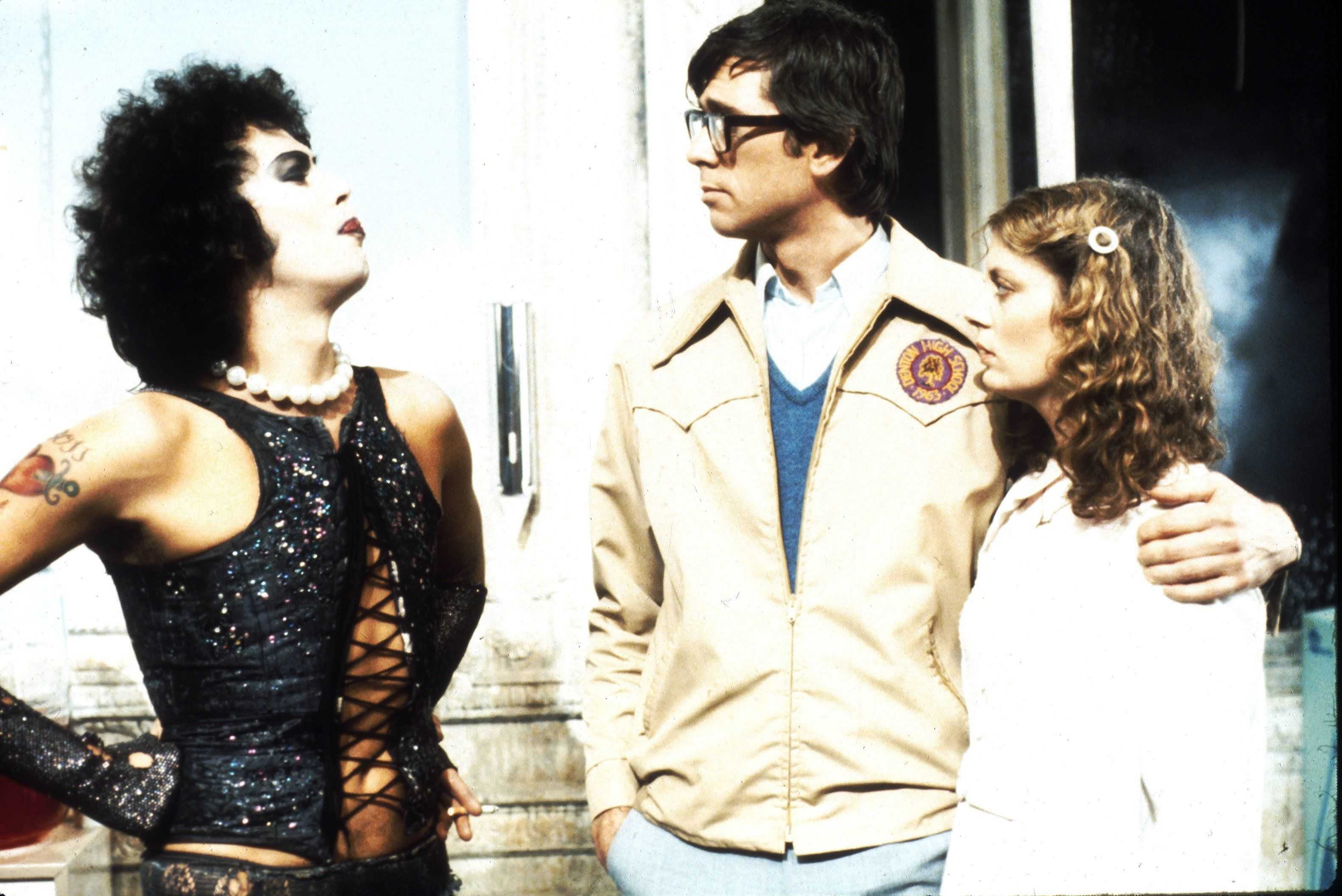 1975:  Actors Tim Curry, Barry Bostwick and Susan Sarandon  in scene from movie 'The Rocky Horror Picture Show' directed by Jim Sharman.   (Photo by Michael Ochs Archives/Getty Images)