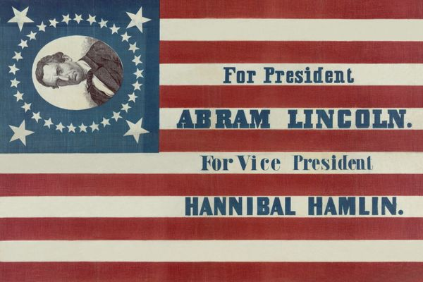 "Campaign banner for Abraham Lincoln and Hannibal Hamlin that spells Lincoln's first name as ""Abram."" The banner con"