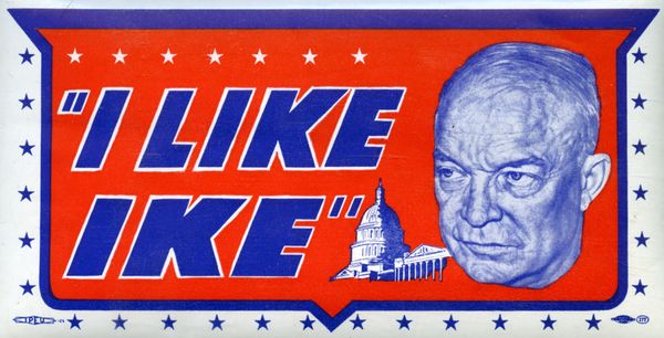 """I Like Ike"" water decal from the presidential campaign of Dwight Eisenhower, circa 1952."